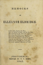 Cover of Memoirs of Elleanor Eldridge