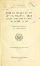 Cover of Men on board ships of the Atlantic Fleet bound for the Pacific, December 16, 1907 with home address in the United States