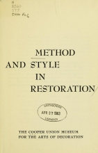 Cover of Method and style in restoration