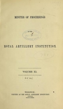 Cover of Minutes of proceedings of the Royal Artillery Institution v.11 (1879-1881)