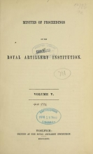 Cover of Minutes of proceedings of the Royal Artillery Institution v.5 (1866-1867)