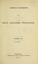 Cover of Minutes of proceedings of the Royal Artillery Institution v.7 (1870-1871)