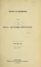 Cover of Minutes of proceedings of the Royal Artillery Institution v.9 (1874-1877)