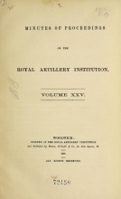Cover of Minutes of proceedings of the Royal Artillery Institution v.25 (1898)