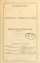Cover of Northern and Central Vermont Line percentage division book