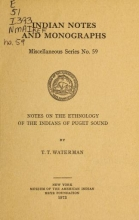 Cover of Notes on the ethnology of the Indians of Puget Sound.