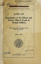 Cover of Notes on examination of the effects and various objects found on German soldiers