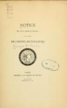 Cover of Notice sur l'état ancien et nouveau de la galerie de l'Hôtel de Toulouse