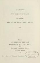 Cover of Patient Quinalt i.e. Quinault Indians allege received bad treatment