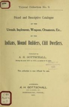 Cover of Priced and descriptive catalogue of the utensils, implements, weapons, ornaments, etc., of the Indians, mound builders, cliff dwellers no. 3