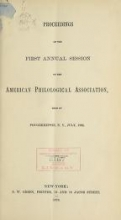 Cover of Proceedings of the annual session of the American Philological Association