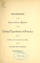 Cover of Proceedings of the fifth annual meeting of the United Typothetae of America