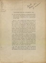 Cover of Proposed act of Congress, 1890