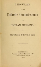 Cover of Publications of the Bureau of Catholic Indian Missions, January, 1879