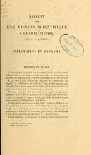 Cover of Rapport sur une mission scientifique a la Côte d'Ivoire