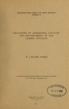 Cover of Relations of Aboriginal culture and environment in the Lesser Antilles