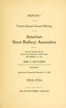 Cover of Report of the ... Annual Meeting of the American Street Railway Association