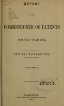 Cover of Report of the Commissioner of Patents for the year