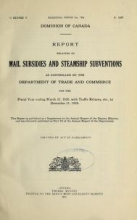 Cover of Report relating to mail subsidies and steamship subventions as controlled by the Department of Trade and Commerce for the fiscal year ending March 31,