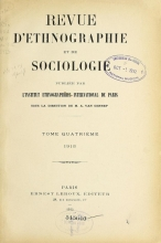 Cover of Revue d'ethnographie et de sociologie v. 4 no. 9/12 sept./dec.1913