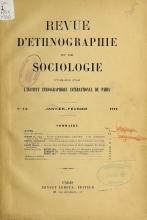 Cover of Revue d'ethnographie et de sociologie v. 3 (1/2) jan-fev 1912