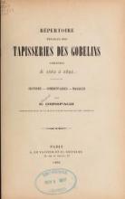 Cover of Répertoire détaillé des tapisseries des Gobelins exécutées de 1662 à 1892