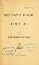 Cover of Service des postes et télégraphes