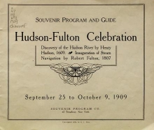 Cover of Souvenir program and guide, Hudson-Fulton Celebration