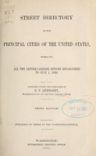 Cover of Street directory of the principal cities of the United States embracing all the letter-carrier offices established to July 1, 1890