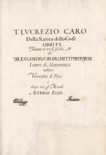 Cover of T. Lucrezio Caro Della natura delle cose libri VI