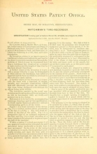 Cover of U.S. patents covering time keeping mechanisms