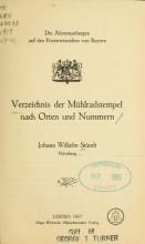 Cover of Verzeichnis der Mühlradstempel nach Orten und Nummern