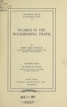 Cover of Women in the bookbinding trade