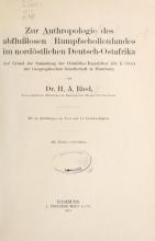 Cover of Zur anthropologie des abflusslosen rumpfschollenlandes im nordöstlichen Deutsch-Ostrafrika