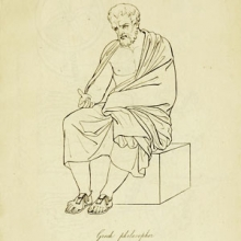 """line drawing of a bearded man in a toga sitting on a stone labeled """"Greek philsopher""""."""