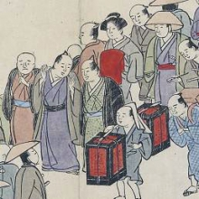 detail of people talking and walking over a bridge