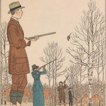 Color illustration of French partridge hunting fashion for 1920 from Gazette du bon ton.