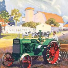 Green tractor in a bucolic farm setting