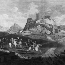 engraving showing men on horseback riding towards a distant castle.