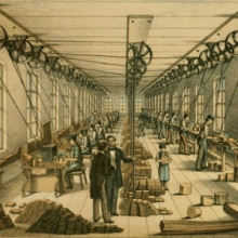 illustration of 19th century lead pencil manufacturing
