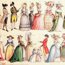 Color illustrations of 18th century European fashions.