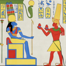 Detail from ancient Egyptian wall painting showing a pharoah making an offering to an animal headed god.