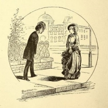 Drawing of a man tipping his hat to a lady on the street.