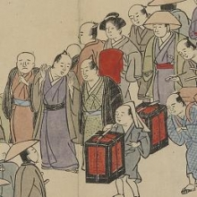 woodcut print with 18th century Japanese citizens crossing a bridge