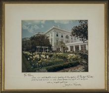 Photograph of White House Garden in the Kennedy era, with inscription to Perry Wheeler from Jacqueline Kennedy.
