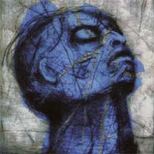 etching of a man's head all in blue