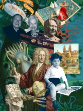 A collage of faces, books, the wright flyer, a squid and a background of leaves and plants.