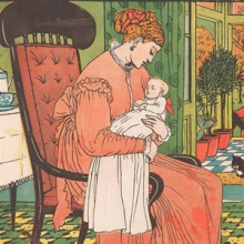 Illustration of a woman sitting in a chair holding an infant.