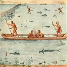 drawing of people fishing with nets and spears on a lake