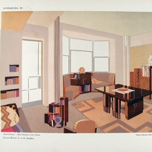 color print showing an Art Deco styled living room